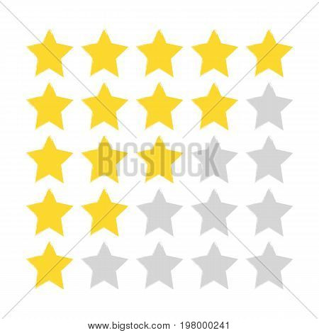 Five-star rating. Gold and gray stars painted with a rough brush. Grunge sketch graffiti. Drawn by hand. Vector illustration.