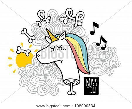 Dead unicorn with bones. Vector illustration for print or sticker.