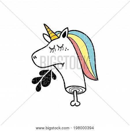 Dead unicorn icon isolated on white background. Funny vector illustration.