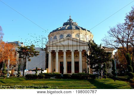 Atheneum. Typical urban landscape in the center of Bucharest - Bucuresti, the capital of Romania. It have 3 millions inhabitants and many historical vestiges