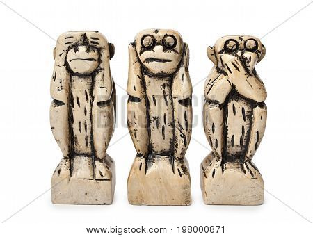 Three figures of monkeys on a white background. See nothing, hear nothing, say nothing.
