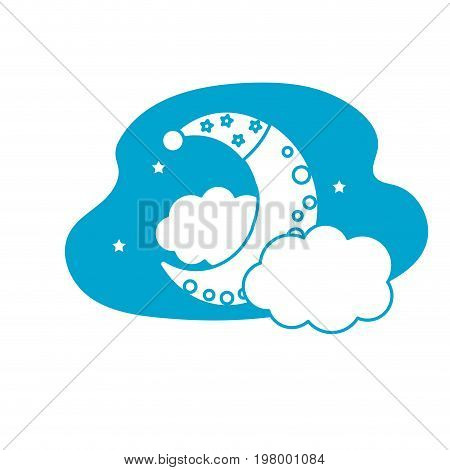silhouette cute moon with sleep hat design and clouds with stars vector illustration