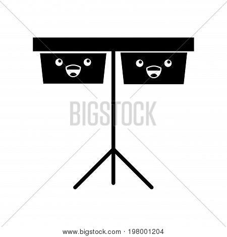 timpani music instrument kawaii character vector illustration design