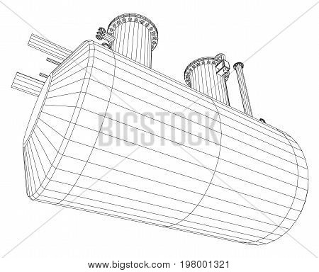 Industrial equipment capacity. Wire-frame. EPS10 format. Vector rendering of 3d.