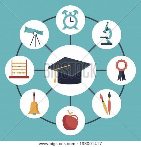 color background with circular frame of graduation cap connected to elements academic in icons around vector illustration