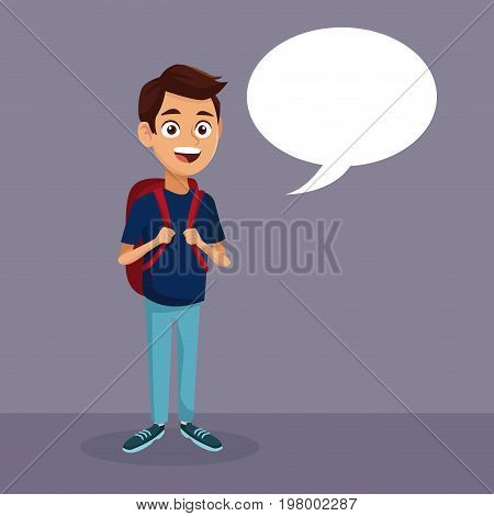 color background with full body student boy with dialog box vector illustration