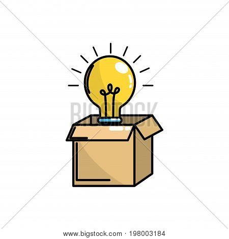 open box with electric bulb light vector illustration