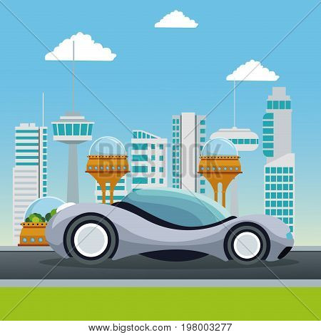 colorful scene futuristic city metropolis with sport gray modern car vector illustration