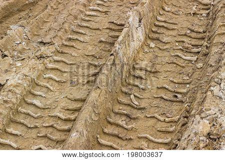 Truck Tyre Pattern On The Soil 4