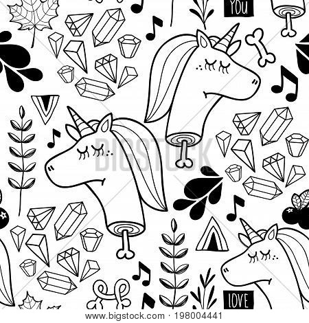 Endless background with doodle head of unicorn. Vector seamless pattern for coloring. Creative wallpaper with floral elements.