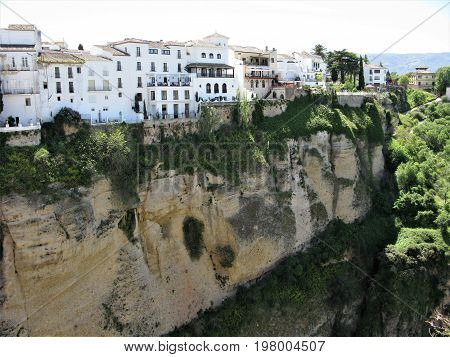 View of Ronda on the edge of a ravine in Andalucia, Spain
