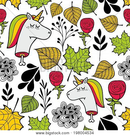 Seamless sad pattern in autumn colors. Vector endless illustration with unicorns and floral elements.