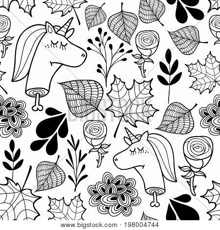 Black and white wallpaper with dead unicorns for coloring. Endless pattern in vector.