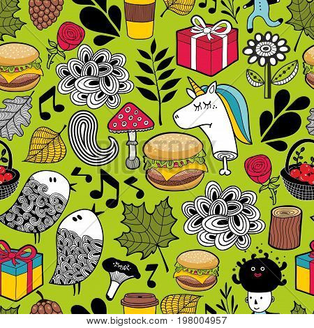 Seamless pattern with cute unicorns and forest animals. Endless vector background for kids.