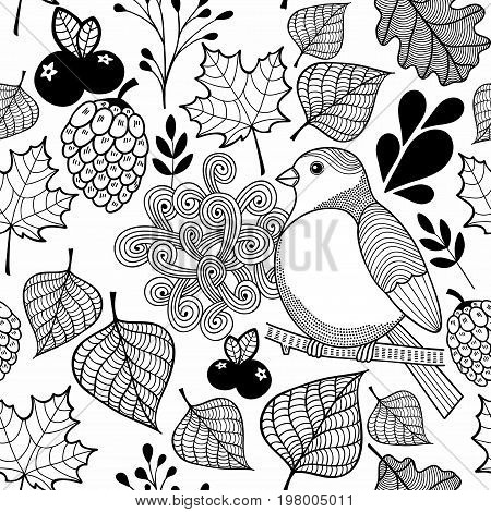 Black and white pattern bird on the branch and autumn leaves. Wallpaper for coloring for kids and adult. Vector illustration.