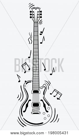 Electric guitar makes a sound. Black and white guitar with notes. Musical instrument. Musical emblem. Isolated stylish art. Modern grunge and rock style.