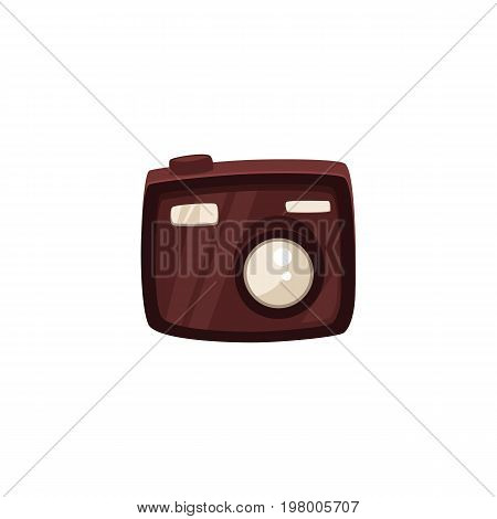Compact digital camera for tourists and travelers, vacation symbol, cartoon vector illustration isolated on white background. Small, compact digital, travel camera