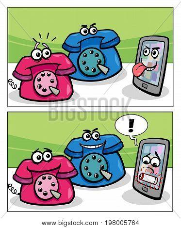 Old Phones And Smart Phone Comics