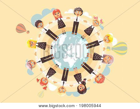 Stock vector illustration cartoon characters children holding hands and standing in circle of planet Earth globe world map, children s day, drive roundelays, lead dances flat style on blue background