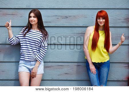 Friendship, Natural Beauty, Leisure, Summer, Youth Concept. Two