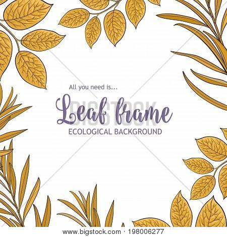 Square banner, frame of tree twigs, branches with fresh yellow leaves and round place for text, sketch vector illustration isolated on white background. Square frame of hand drawn twigs, leaves