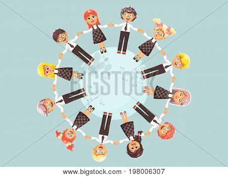 Stock vector illustration cartoon characters children holding hands and standing in circle, drive roundelays, lead dances in flat style on blue background