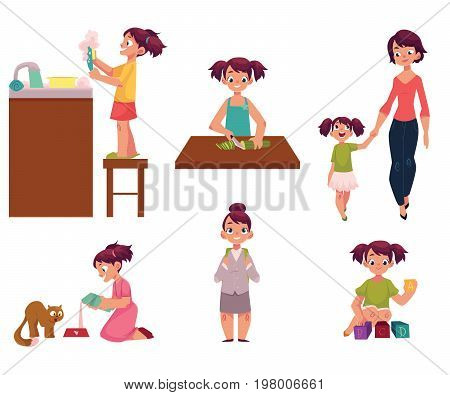 Daily routine, little girl doing chore, helping mother, feeding cat, going to school, playing with toys, cartoon vector illustration isolated on white background. Daily routine set, little girl