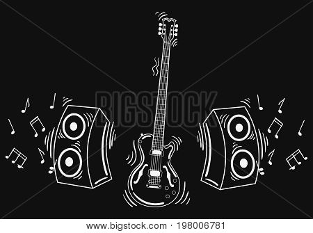 Vector electric guitar with acoustic system. Illustration of a guitar with notes and sound. Musical emblem. Rock concert. Stylized musical instrument.