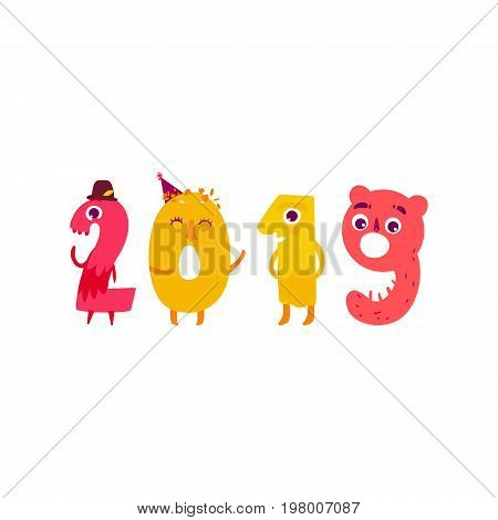 Vector cute animallike character number 2019. Flat cartoon illustration on a white background. Happy birthday, new year decorative numbers. Funny smiling colored math, education symbols