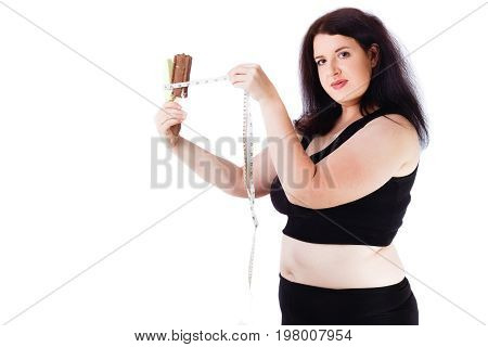 Young Overweight Woman Putting Measuring Tape Around Ice Cream B