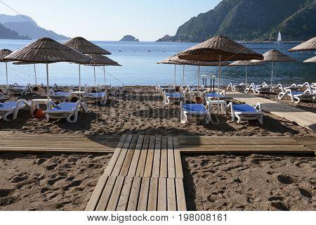 Summer vacation on the Icmeler  beach, Turkey