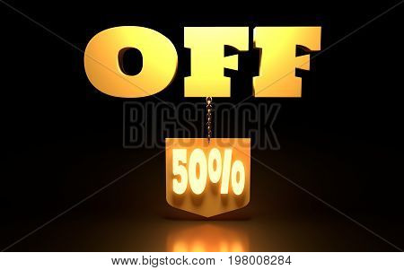 50 Percent Discount Sign. Special Offer Discount Tag. Sale Up to 50 Percent Off. Shield hanging from a chain. 3D rendering