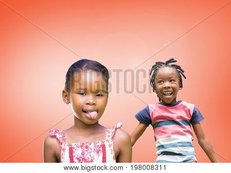 Digital composite of kids fooling around playing with blank orange background