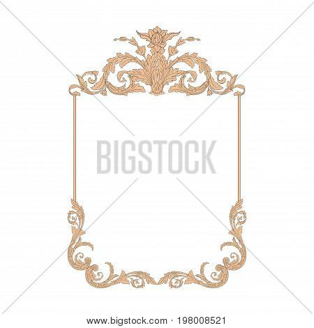 Vintage baroque frame scroll ornament engraving border floral retro pattern antique style acanthus foliage swirl decorative design element filigree calligraphy vector | damask - stock vector