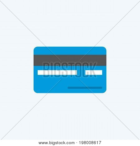 Vector flat Credit Card Icon, back view.