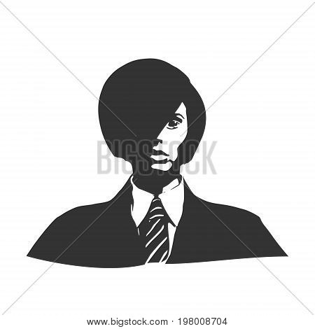 Face front view. Elegant silhouette of a female head. Vector Illustration. Short hair. Monochrome gamma. Business woman