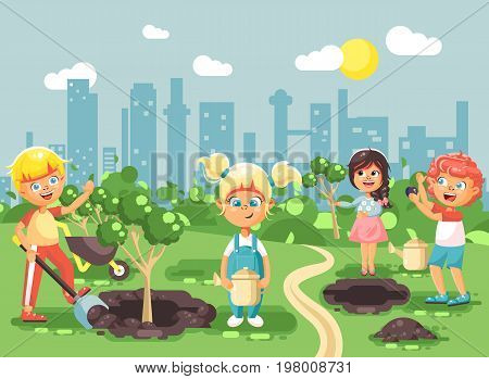 Stock vector illustration cartoon characters of children boy and girl planting in garden seedlings of tree, little child with water geek, taking care of ecology city in flat style for motion design
