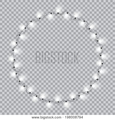 Lights realistic design elements. Garlands decorations. Led neon lamp