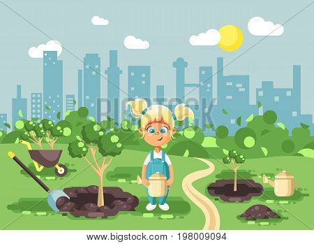 Stock vector illustration cartoon characters of child little blonde girl in denim overall with two tails planting in garden seedlings of tree watering from geek, taking care of ecology city flat style