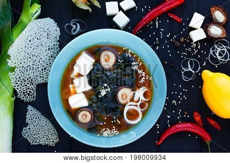 Japanese Miso Soup With Mushrooms, Tofu Cheese And Shrimps, Serv