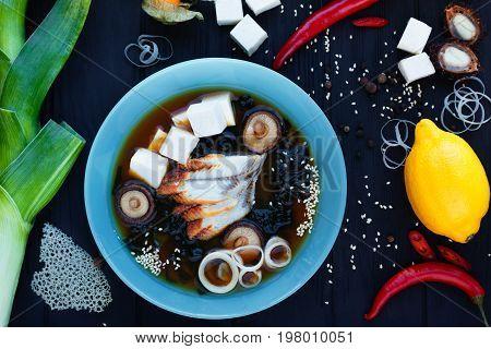 Japanese Cuisine, Seafood, Restaurant Menu Concept. Japanese Mis