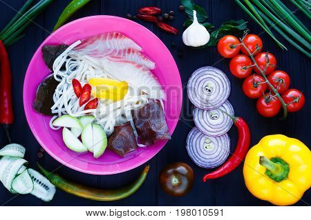 Thai Soup With Udon Noodle, Muer Fungus And Vegetables, Top View