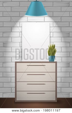 Poster Mock Up And Green Plant Standing On Commode. Home Interior Illustration With White Brick Wall