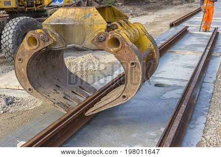 Alignment Of Tram Rail Track Before Welding