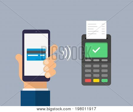 Payment By Credit Card Using Pos Terminal And Smartphone, Approved Payment. Wireless Payment Flat Il
