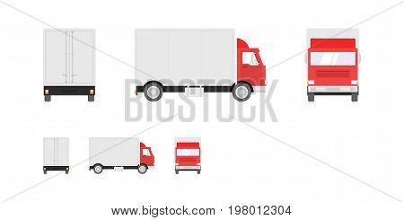 Truck illustration. Side front back views of transport truck isolated on white background. Pixel perfect modern flat design illustration.