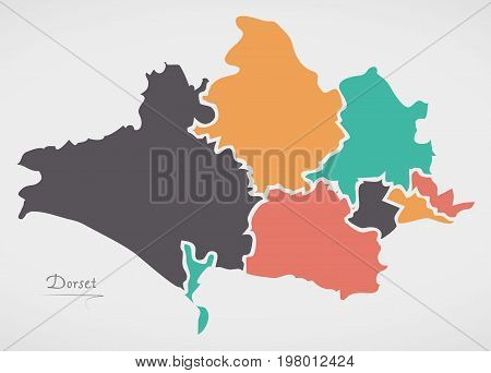 Dorset England Map With States And Modern Round Shapes