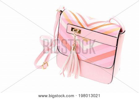 Casual Female Shoulder Bag In Pink Colour, Close Up
