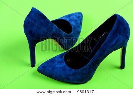 Pair Of Fancy Suede Female Shoes, Closeup. High Heel Footwear