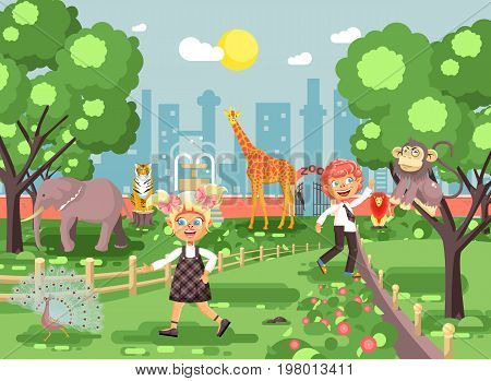 Stock vector illustration or banner for site with schoolchildren, classmates on walk, school zoo excursion zoological garden, boy and girl watching wild animals and birds flat style, city background